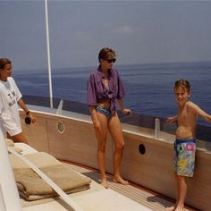 Princess Diana on board Valentino's T.M.Blue One yacht with Rosario Saxe-Coburg, married to Prince Kyril of Bulgaria, summer 1990.