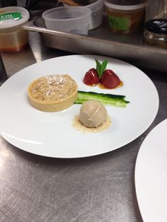 Strawberry Cream Streusel Tart, Slow Roasted Strawberries, Aged Balsamic Ice Cream, Sweet Basil Sauce