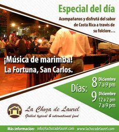 Música de marimba en vivo en nuestro restaurante en La Fortuna...