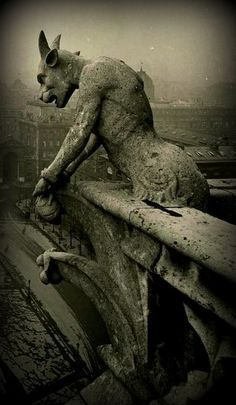 vintage photo of the famous gargoyle at Notre Dame...