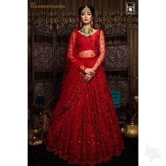 Image may contain: 1 person, standing Lehenga Gown, Lehnga Dress, Red Lehenga, Bridal Lehenga Choli, Indian Lehenga, Indian Bridal Outfits, Indian Designer Outfits, Indian Dresses, Bridal Dresses