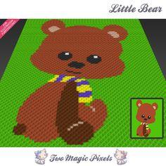 Little Bear by Two Magic Pixels C2c Crochet, Crochet Blanket Patterns, Crochet For Kids, Crochet Afghans, Bobble Stitch, Yarn Brands, Plastic Canvas Patterns, Yarn Colors, Hama Beads