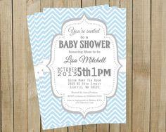 Vintage Blue Chevron with Gray Baby Shower Invitation, Custom Digital File, Printable, Pink Poppy Design on Etsy