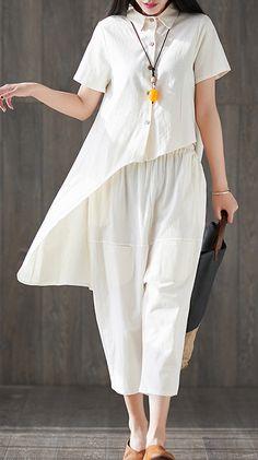 new white asymmetric tops and elastic waist harem pants fshion two pie – SooLinen Iranian Women Fashion, Sweater Dress Outfit, Moda Casual, Asymmetrical Tops, Western Dresses, Two Piece Outfit, Linen Dresses, Fashion Dresses, Short Sleeve Dresses