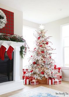 Red Tartan Christmas Mantel with red and white Christmas tree #christmastreedecorideas #christmasmantle