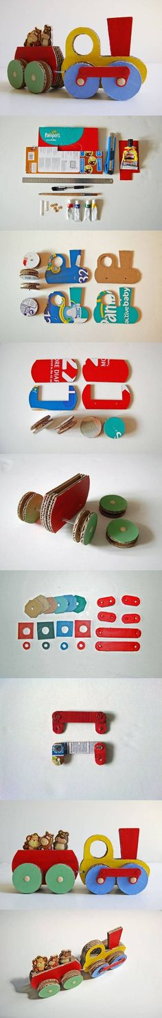 DIY Cardboard Train diy craft crafts craft ideas reuse easy crafts diy ideas diy crafts kids crafts how to tutorial recycle paper crafts repurpose crafts for kids