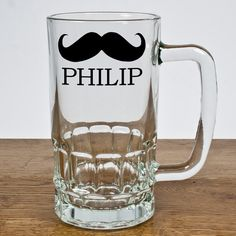 Personalised Moustache Pint Glass Glass moustache designed tankard, personalise with his name. The tankard can hold one pint. The moustache design comes as standard. Can be personalised with up to 20 characters. (Barcode EAN=506034769 http://www.MightGet.com/january-2017-13/personalised-moustache-pint-glass.asp
