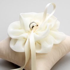 Ivory ring pillow wedding ring bearer bridal by louloudimeli