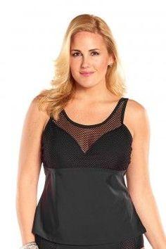 Beach Couture Mesh Me Plus Size Tankini Top-5066-Black