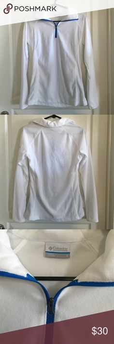 Columbia Half Zip Pullover Size Small White half zip, fleece pullover with blue trim. Only worn 1-2 times, so still looks new. No rips, tears, or stains. No trades. Columbia Tops Sweatshirts & Hoodies