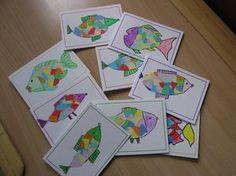 vánoční přáníčka - rybky z trhaných papírků