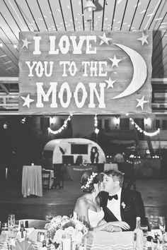 """""""Love you to the moon"""" sign. Bride's design."""
