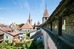 Murten, Switzerland. Medieval city walls and old town.