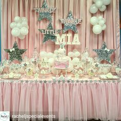 Twinkle twinkle little star ⭐️ Happy first birthday beautiful Mia 💕 Event styling Baby Girl Shower Themes, Baby Shower Gender Reveal, Shower Party, Baby Shower Parties, Decoracion Baby Shower Niña, Baby Girl First Birthday, Star Baby Showers, Festa Party, Twinkle Twinkle Little Star