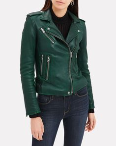 Green Leather Jackets, Leather Jacket Outfits, Men's Leather Jacket, Leather Gloves, Biker Gloves, Mens Gloves, Boots And Leggings, Sweater Coats, Green Jacket