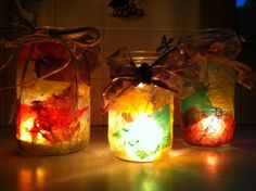 so easy! jar + Mod Podge + torn tissue paper or dried leaves.  Add a tea light and some ribbon and they are beautiful accent lights alone or in groups.
