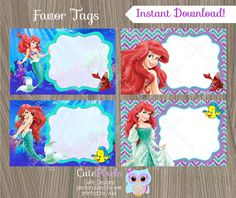 Little Mermaid Favor Tags by CutePixels //etsy.me/1S7ksKd  sc 1 st  Pinterest & Ariel the little mermaid tent food label set by PrintablesToYou ...