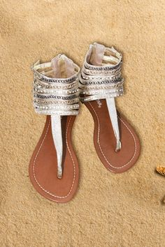 Sandals gold buckle straps Flat strappy ankle with chains and rhinestones