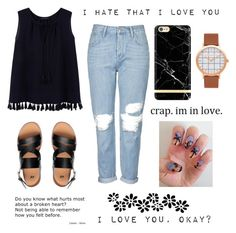 """{I hate that I love you}"" by mariafe1231 ❤ liked on Polyvore featuring Violeta by Mango and Topshop"