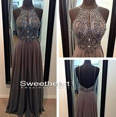 Amazing A-line Chiffon Beaded Long Prom Dresses, Evening Dresses from Sweetheart Girl