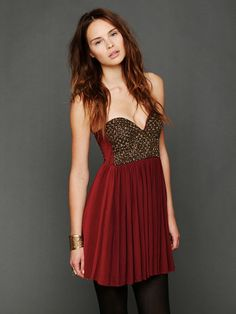 Free People burgundy and bronze dress (Free People Last Dance Slip, C0.00)