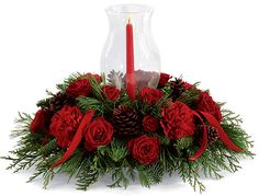 Christmas Flower Arrangements | Candle Centerpiece