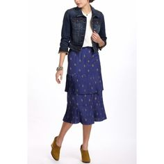 Plenty by Tracy Reese tea length skirt Beautiful patterned blue midi featuring pleated double tiers. Anthropologie Skirts