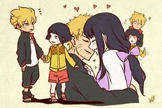 Naruto and Hinata and their children Boruto and Himawari. I love that Boruto is covering Himawari's eyes, it's so cute! Naruto Shippuden, Naruto Himawari, Yamanaka Inojin, Naruto Gaiden, Shikamaru, Hinata Hyuga, Shikatema, Narusasu, Uzumaki Family