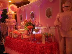 Incredible candy bar for a first birthday. And she's already got knights in shinning pink armor! http://www.grandmarquiscaterers.com. #firstbirthday, #candybar, #pink, #GrandMarquis.