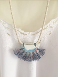 Polymer clay pendant necklace with tassels