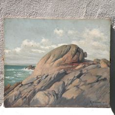 French antique coastal oil painting, antique seascape, French vintage art, seaside painting, ocean oil painting, 100 year old painting