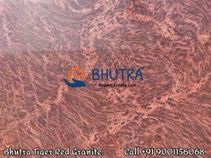 Tiger Red Granite is red and from Brazil. It can be used in many areas for suitable for interior and exterior applications . The stone is famous for its texture resembling with Tiger's skin. This granite comes in different qualities, mainly brown/orange/red background with black waves in the pattern. With its colour and texture, the stone becomes a great option for flooring, countertops, fountains, mosaic, and other design projects. The vein pattern on the stone amplifies the appeal of the… Granite Tops, Granite Slab, Black Granite, Granite Suppliers, Marble Price, Italian Marble, Red Background, Orange Red, Good People