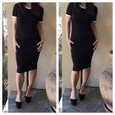 Chic trim midi dress Chic black with white trim detail jersey rayon/spandex knit midi dress PLEASE comment on the size you want and allow me to make you a personalized listing BUNDLE AND SAVE 10% Dresses Midi