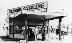 (1920s)^^ - The Gilmore Gas Station was one of the first gas stations in Los Angeles. Located at the corner of La Brea and Wilshire Blvd.