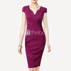 Women's Solid Black/Purple Dress , Sexy/Bodycon/Casual/Party/Work V Neck Short Sleeve - USD $ 22.99
