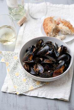 Mussels Steamed in White Wine | via @Annie M.
