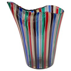 """Midcentury Murano Glass Venini """"a Canne"""" Vase in the Manner of Gio Ponti 