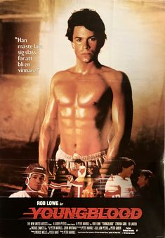 """YOUNGBLOOD (1986) Cheesy sports drama is a guilty pleasure and has developed a cult following. Rob Lowe stars (and doesn't do much) with the pretty boy hockey star lead role. Patrick Swayze is a knockout as an aging star and young pre """"Bill and Ted"""" Keanu Reeves is great as a rowdy team player. Fun puck filled fluff. Movies Of The 80's, Movies And Series, 80s Movies, Great Movies, Movies And Tv Shows, Rob Lowe Movies, Love Movie, Movie Tv, Patrick Swayze"""