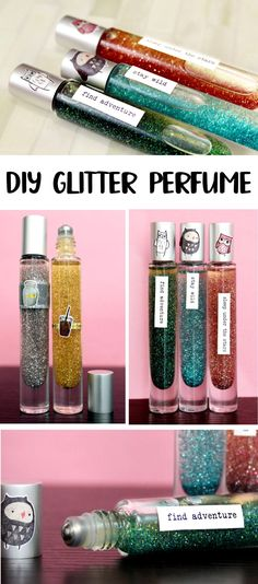 DIY Glitter Perfume for Your Inner Rockstar! True glitter fans continue to discover glitter EVERYWHERE - even after an OCD house cleaning. If you're a fan of glitter (and you totally know what I mean!) then you simply cannot pass up this tutorial for making your own awesome DIY glitter perfume! Not only can it be made in under 5 minutes, but it also makes great homemade gifts for teen girls!