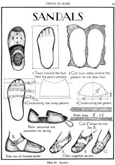 Sandals patterns Patrones de sandalias A Textbook of Leathercraft: Projects and Patterns - Leatherworking & Leathercraft - Crafts & Hobbies Leather Tooling Patterns, Leather Pattern, Crea Cuir, Diy Accessoires, Shoe Pattern, How To Make Shoes, Leather Projects, Classic Books, Classic Literature