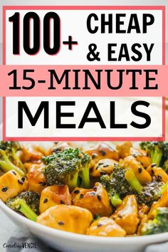Want to save time and money on dinner? These 15 minute dinner ideas will help you save money while feeding your family delicious meals. #cheapdinnerideas #15minutedinnerideas #cheapdinenrrecipes #feedingyourfamilyonabudget 15 Min Meals, 15 Minute Dinners, Fast Dinners, Quick Kid Dinners, 15 Minute Recipes, Cheap 30 Minute Meals, Quick Meals For Dinner, Kid Meals, Weeknight Dinners