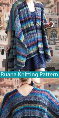Knitting patterns for ruana wraps - large blanket shawls or open front square ponchos inspired by the traditional Andes garment. Many of the patterns are free Knitting Stitches, Knitting Patterns Free, Knitting Yarn, Free Knitting, Knitting Machine, Stitch Witchery, Easy Knitting Projects, Aran Weight Yarn, Shirt Designs