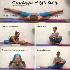 Stretches for the Middle Splits! ♀️ and inner thighs ✨ Hold each pose for 1 minute, focusing on your inhales and exhales. If you are… #pilatesinstructor