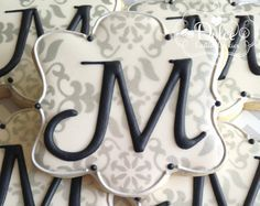 One Dozen Elegant Monogram Decorated Sugar Cookies For Wedding, Anniversary, Engagement Party, Shower, Birthday Or Any Special Occasion