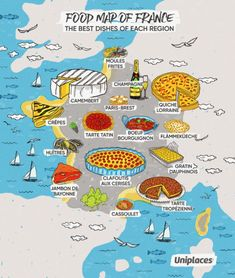 Regional food map infographic of France Food Map, Food Food, French Lessons, Spanish Lessons, Learning Spanish, Teaching French, French Food, French Stuff, French Language
