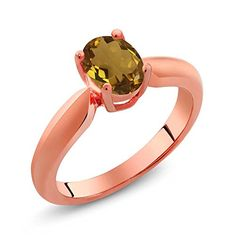 070 Ct Oval Champagne Quartz Rose Gold Plated Sterling Silver Ring >>> You can get additional details at the image link. (This is an affiliate link) #Rings