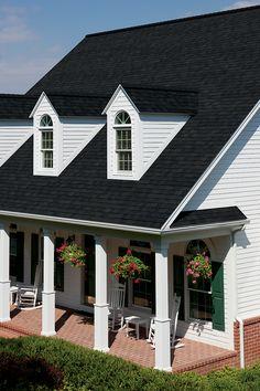 Dark roof, tan siding CertainTeed landmark charcoal black ...