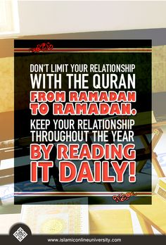 Don't limit your relationship with the Quran from Ramadan to Ramadan. Keep your relationship throughout the year by reading it daily! #Ramadan #IOURamadan