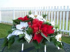 Troy Ohio Piqua OH Cemetery Grave Tombstone Saddle Silk Poinsettia Sprays