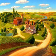 Lato na obrazie Farm - Lato na wydruku rolnicze Sztuki: